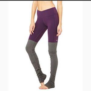 Alo Yoga Goddess leggings in eggplant and grey